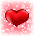 Red heart Valentine glowing background vector image