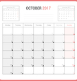Calendar Planner for October 2017 vector image