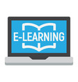 e learning flat icon education and online vector image