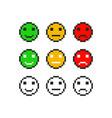 pixel emoji symbol faces emotion set vector image vector image