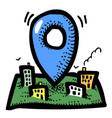 cartoon image of route icon localization symbol vector image