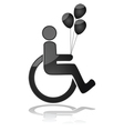 Child in wheelchair holding balloons vector image