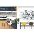 Coffee shop interiors design vector image
