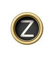 letter z vintage golden typewriter button vector image