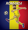 romania soccer player with flag background vector image