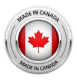 Silver medal Made in Canada with flag vector image