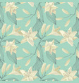 tropical lily engraving seamless pattern vector image
