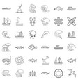 wet icons set outline style vector image