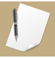 White Paper with Pen vector image