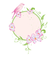 floral frame with bird vector image vector image