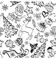 Christmas seamless pattern contour vector image vector image