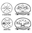 hunting and fishing vintage emblems set vector image