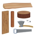 Set wood and tools vector image
