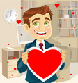 Cute businessman in office hold a valentine vector image vector image