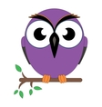 Wise old owl sat on a tree branch vector image