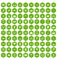 100 communication icons hexagon green vector image vector image