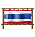 The flag of Thailand attached to the wooden frame vector image