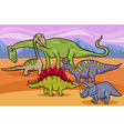 dinosaurs group cartoon vector image