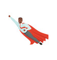 afro-american man with superhero cloak flying with vector image