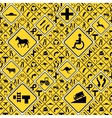 Different yellow road signs seamless pattern vector image