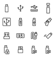 line usb icon set vector image