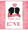 postcard love couple together forever with pink vector image