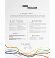 Creative simple cv template with colorful lines at vector image