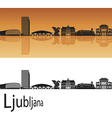 Ljubljana skyline in orange background vector image vector image