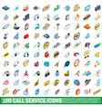 100 call service icons set isometric 3d style vector image