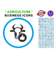 cow thumb up rounded icon with set vector image