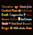 writing and symbols on subject of food and drink vector image vector image