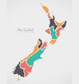 new zealand map with states and modern round vector image