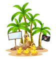 A duck and her ducklings near the signboard under vector image vector image