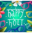 Happy Holi poster of indian color festival vector image vector image