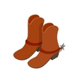 Cowboy boot isometric 3d icon vector image