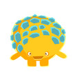 cute yellow mossy stone with embarrassed face vector image