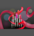 design concept with lipsticks on dark vector image