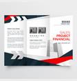 Elegant red black business trifold brochure vector image