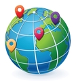 Globe with location pointers vector image