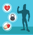 healthy man athletic diet sport silhouette vector image