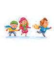 playing outdoor funny cartoon character vector image