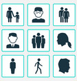 person icons set collection of jogging member vector image