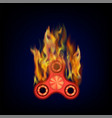 burning red fidget finger spinner vector image