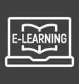 e learning line icon education and online vector image
