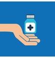 hands bottle medicine capsule icon vector image