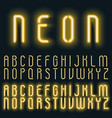 neon golden yellow light alphabet font vector image