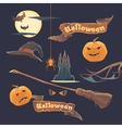 Set of stickers and elements Happy Halloween vector image