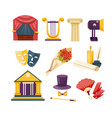 set of theatrical performance icons set vector image
