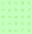 Slow life activity line icons on green background vector image