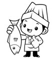 black and white cook mascot and best fish vector image